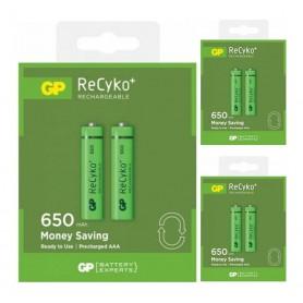 GP - Duo GP R03/AAA GP ReCyko+ 650 Series 650mAh Rechargeable - Size AAA - BS128-CB