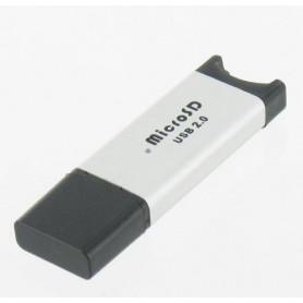 NedRo - Micro SD USB reader-writer zilver microSD, MicroSDHC, T-Flash, Micro MMC - SD en USB Memory - YPU210 www.NedRo.nl