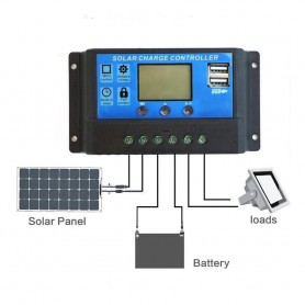 unbranded - 50A DC 12V - 24V PWM Solar charge controller with LCD and 5V USB - Solar controller - AL130-50A