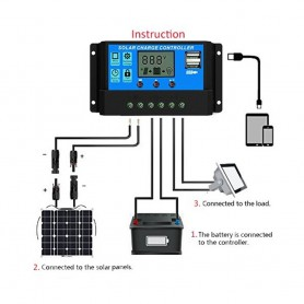 unbranded - 60A DC 12V - 24V PWM Solar charge controller with LCD and 5V USB - Solar controller - AL130-60A