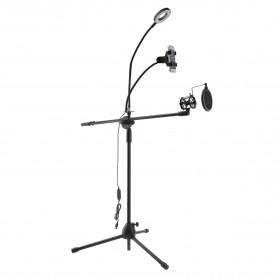 Oem, Multifunction Microphone Stand With LED Light, Phone holder and POP-Filter, Various computer accessories, AL1116-STA