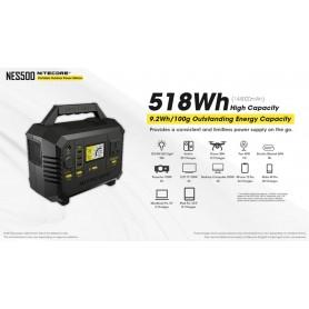 NITECORE - NITECORE NES500 500W Portable Outdoor Powerbank Powerstation 518Wh 144000mAh AC DC USB USB-C Output - Energy stora...