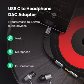 UGREEN, UGREEN USB-C Type C Male To 3.5mm Audio Adapter OMTP/CTIA Built-in chip support analog and digital audio, Audio adapt...