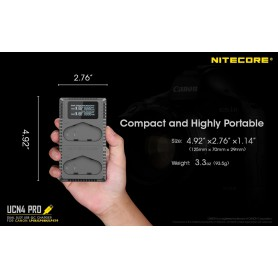 NITECORE, Nitecore UCN4USB charger compatible with Canon LP-E4/LP-E4N, Canon photo-video chargers, NK-UCN4
