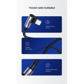 UGREEN - UGREEN Lightning to USB A Male Charge and Data Cable with Right Angle - USB adapters - UG-60521-CB