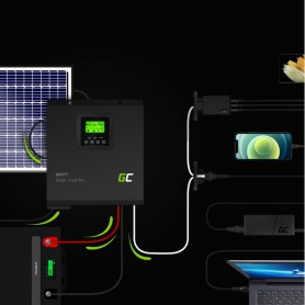 Green Cell - GREEN CELL Solar Inverter Off Grid converter with MPPT Solar Charger for 12VDC 230VAC 1000VA / 1000W Pure Sine W...