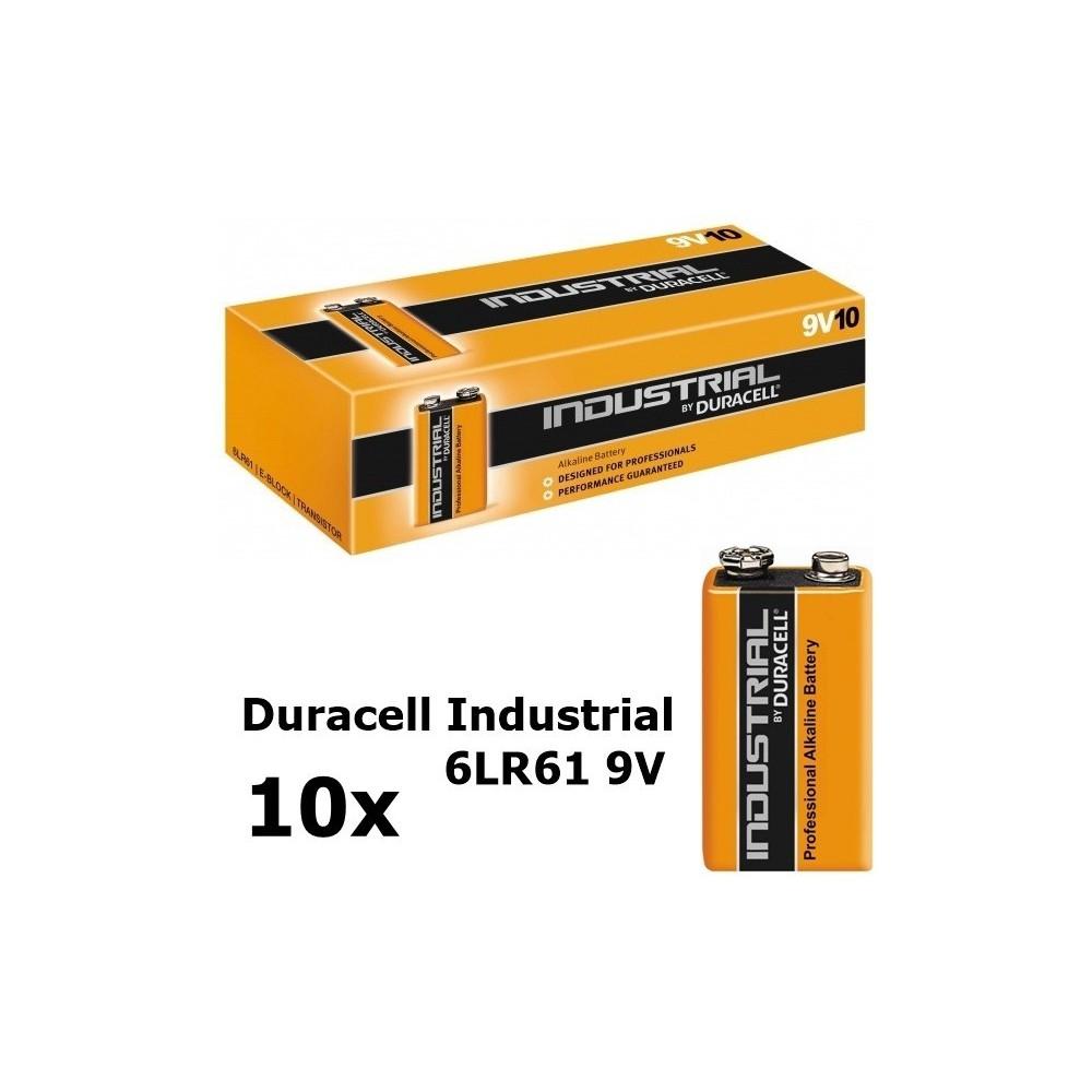 Duracell - 10x Duracell Industrial 6LR61 9V alkaline BL061 - Format C D 4.5V XL - BL061-C www.NedRo.ro