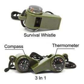 Unbranded - 3 In 1 Survival Whistle with Compass Thermometer AL046 - Kompas - AL046 www.NedRo.nl