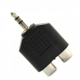 3.5mm Audio Jack Out Plug to 2 RCA Splitter Adapter AL010
