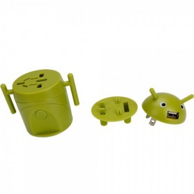 Unbranded, Android Style Multi-Function Travel Power Plug Adaptor Green, Plugs and Adapters, WW88008169