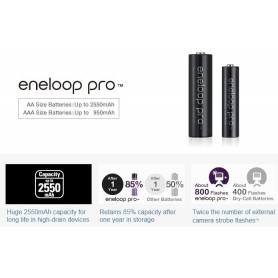 Eneloop, AA HR6 Panasonic Eneloop PRO 2550mAh 1.2V Baterii reîncărcabile, Format AA, NK060-CB, EtronixCenter.com