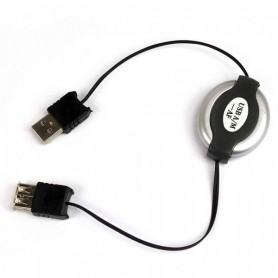 1M Roll-In USB M naar USB F Datakabel Zwart NED896