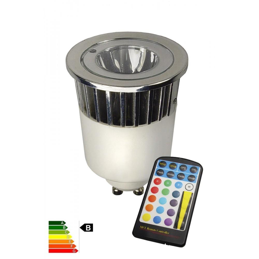 """LED GU10 240V 5W """"wissel kleur"""" met afstandbediening CA027"""