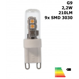 Calex, LED G9 240V 2,2W 3000K 210LM glas buis Warmwit CA028, G9 LED, CA028, EtronixCenter.com