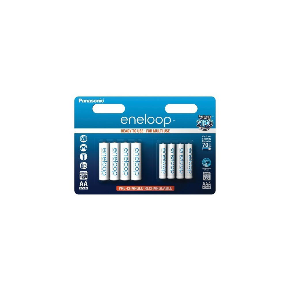 NedRo - 8x Accu-Set Panasonic eneloop AA/AAA 4+4 reincarcabile - Format AAA - ON2817 www.NedRo.ro