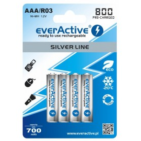 AAA 800mAh Rechargeables everActive Silver Line