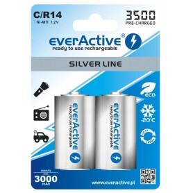 EverActive, everActive R14 C-Cell 3500mAh 1.2V NiMh Silver Line oplaadbare batterij, C D en XL formaat, BL154-CB, EtronixCent...