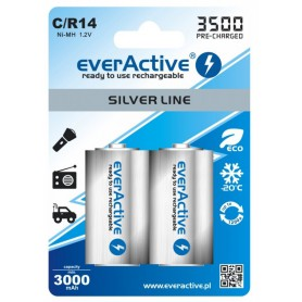 EverActive - everActive R14 C-Cell 3500mAh 1.2V NiMh Silver Line oplaadbare batterij - C D en XL formaat - BL154-5x www.NedRo.nl