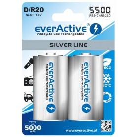 EverActive, R20 D 5500mAh everActive herlaadbaar Silver Line, C D en XL formaat, BL155-CB, EtronixCenter.com