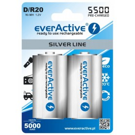 EverActive - R20 D 5500mAh everActive Rechargeables Silver Line - Size C D and XL - BL155-CB www.NedRo.us