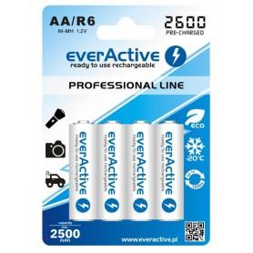 EverActive - R6 AA 2600mAh everActive Professional Line Oplaadbare batterijen - AA formaat - BL156-3x www.NedRo.nl