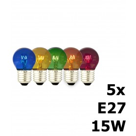 Calex - 5in1 5 kleuren Party Kogellamp pakket 240V 15W E27 CA057 - E27 LED - CA057 www.NedRo.nl