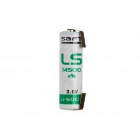 SAFT, SAFT LS14500 / AA baterie cu litiu 3.6V cu urechi de lipire U, Format AA, NK097-CB, EtronixCenter.com