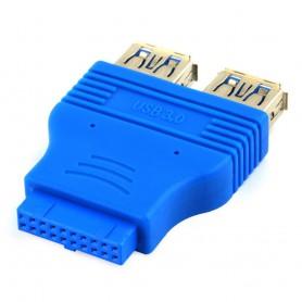 NedRo - USB 3.0 Pinheader F 20pin naar Dual USB 3.0 Female AL662 - USB adapters - AL662 www.NedRo.nl
