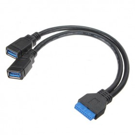 NedRo, USB 3.0 Pinheader 20 Pin to Dual USB 3.0 Female AL668, USB adapters, AL668, EtronixCenter.com