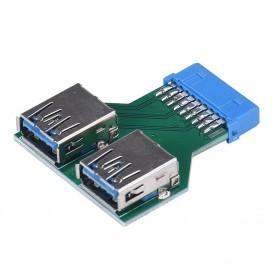 NedRo - USB 3.0 Pinheader F 19pin la Dual USB 3.0 Female AL670 - Adaptoare USB  - AL670 www.NedRo.ro