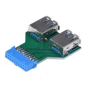 NedRo - USB 3.0 Pinheader F 19pin naar Dual USB 3.0 Female AL670 - USB adapters - AL670 www.NedRo.nl