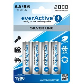 EverActive - everActive Ni-MH R6 AA 2000 mAh Silver Line - AA formaat - BL170 www.NedRo.nl