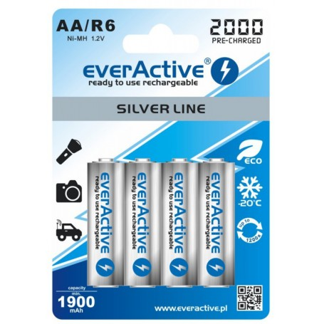EverActive, everActive Ni-MH R6 AA 2000 mAh Silver Line, Size AA, BL170-CB