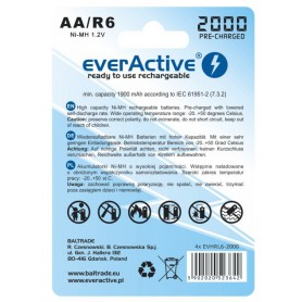EverActive - everActive Ni-MH R6 AA 2000 mAh Silver Line - AA formaat - BL170-CB www.NedRo.nl