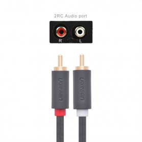 UGREEN, 2 RCA male naar 2 RCA male kabel, Audio kabels, UG011-CB, EtronixCenter.com