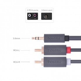 UGREEN - 2 RCA male to 3.5mm Audio Jack male cable - Audio cables - UG015-CB www.NedRo.us