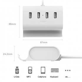 UGREEN, 4 Port Hub USB 2.0 Micro USB OTG with Phone Stand UG035, Ports and hubs, UG035, EtronixCenter.com