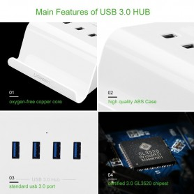 UGREEN - 4 Ports USB 3.0 HUB with Power Adapter and Cradle UG036 - Porturi si huburi - UG036 www.NedRo.ro