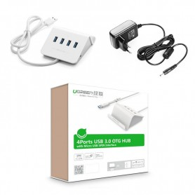 UGREEN, 4 Ports USB 3.0 HUB with Power Adapter and Cradle UG036, Ports en Hubs, UG036, EtronixCenter.com