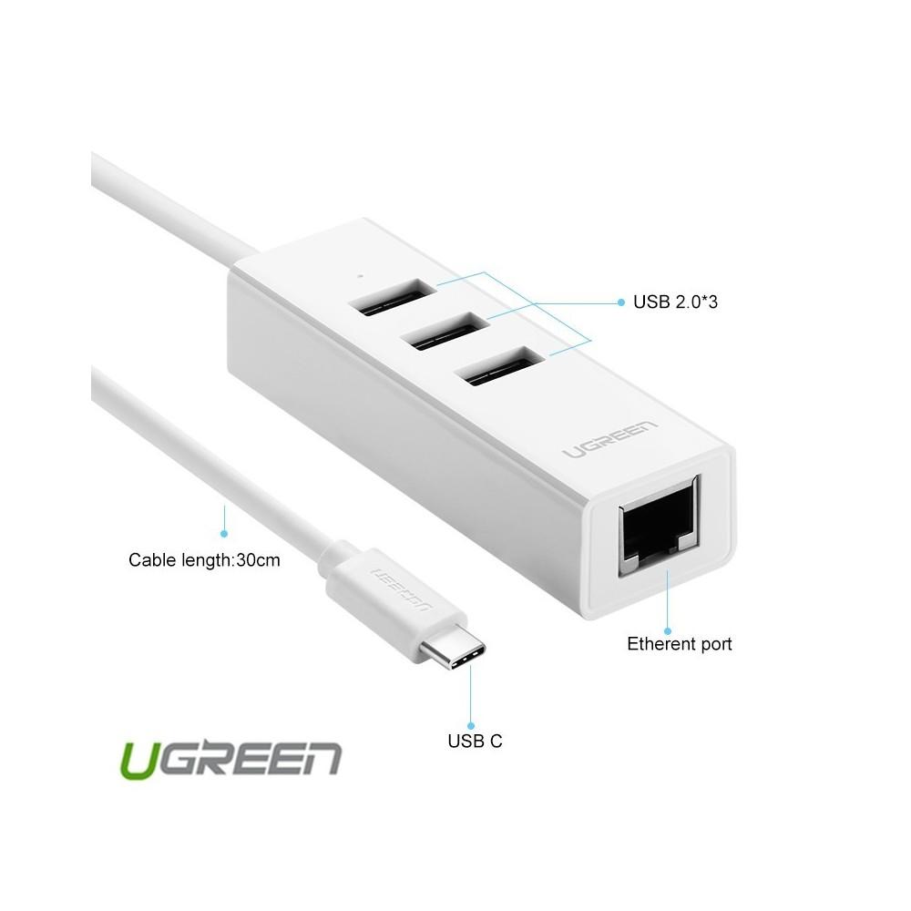 USB Type C to 3 Ports Hub USB 2.0 with rj45 Lan Adapter UG038