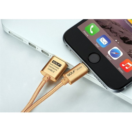 GOLF, 200cm cable for iPhone 6 Plus 5 5S iPad 4 Air 2 Gold AL613, iPhone data cables , AL613