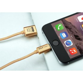 GOLF, 200cm kabel voor iPhone 6 Plus 5 5S iPad 4 Air 2 Gold AL613, iPhone datakabels, AL613, EtronixCenter.com