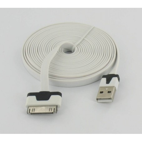 unbranded, Ultra flat iPhone usb sync and changer 3m white YAI508, iPhone data cables , YAI508
