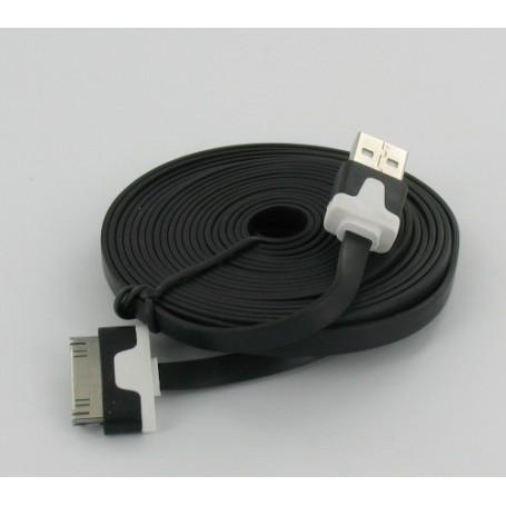 NedRo, Ultra flat iPhone usb sync and changer 3m black YAI509, iPhone data cables , YAI509