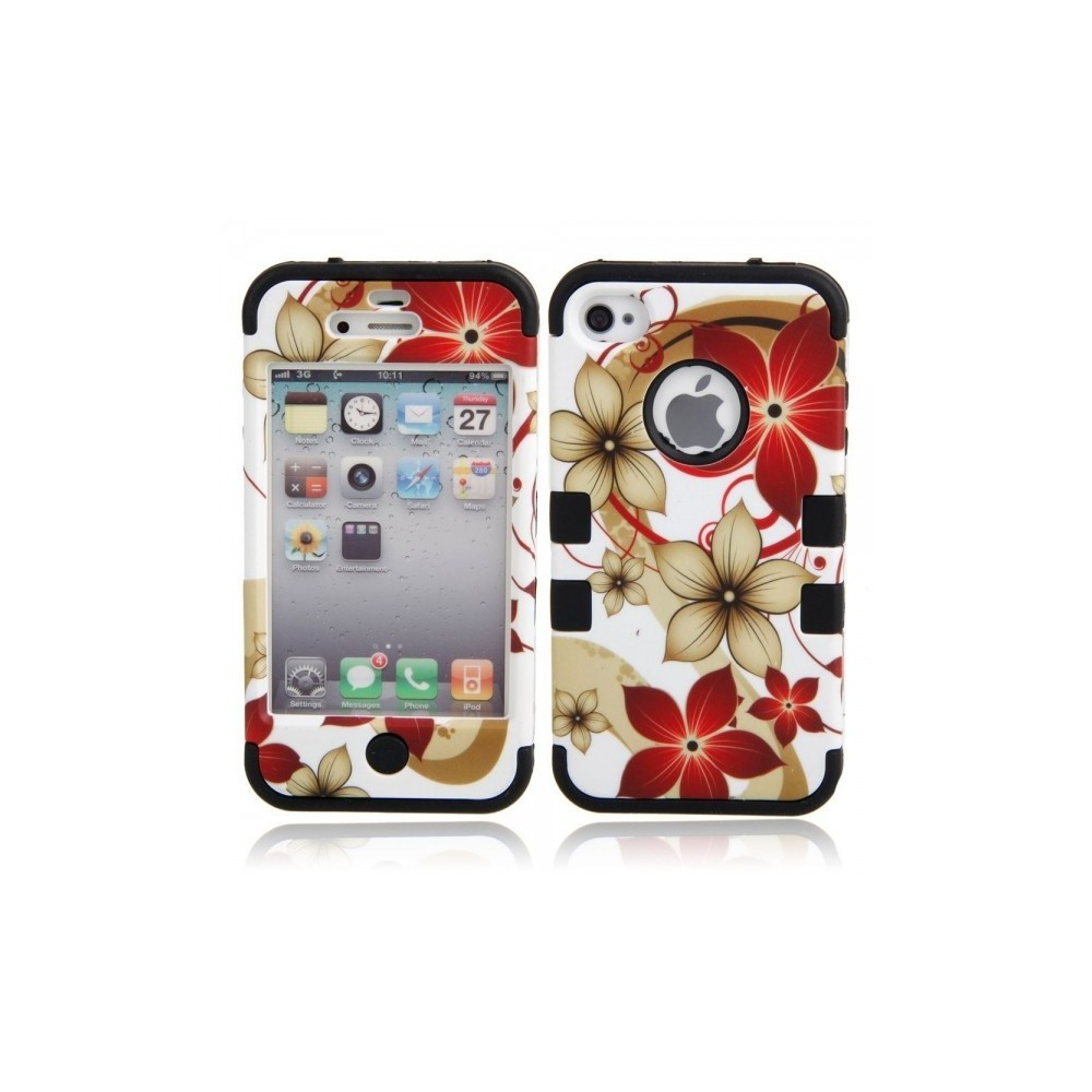 Hawaiian Flower Background Protective Case for iPhone 4/4S Black WW87010948
