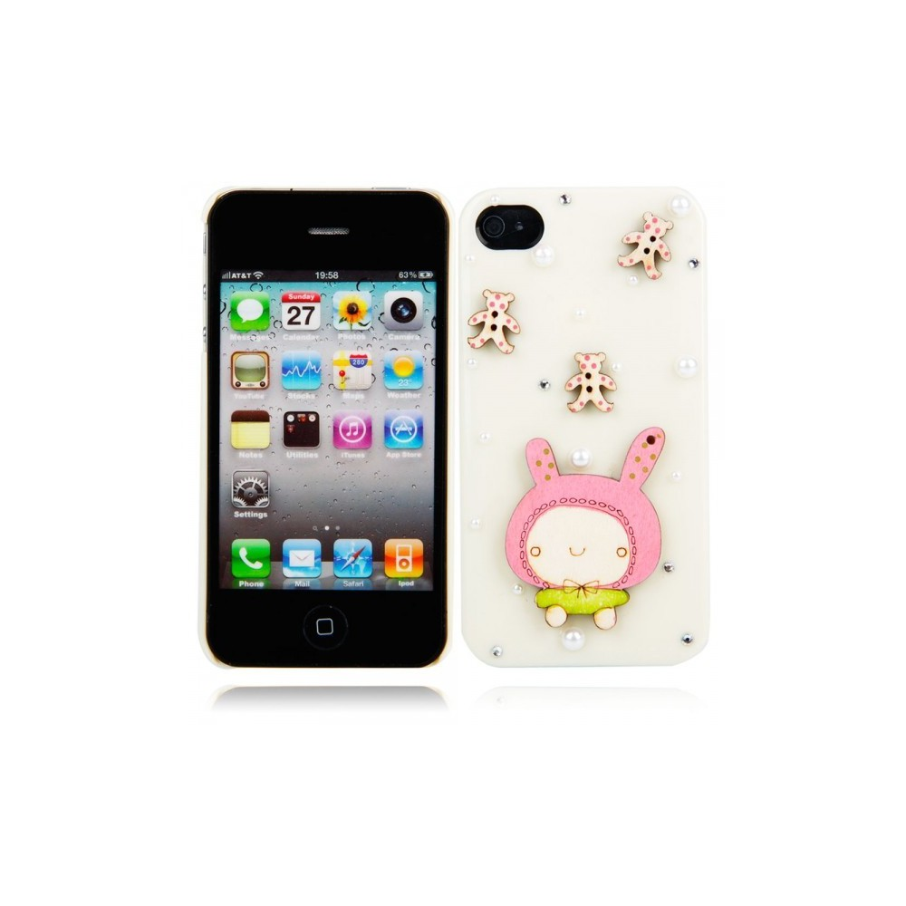 Cartoon Doll Style Protective Hard Back Cover Case for iPhone 4/4S Milky WW87008230