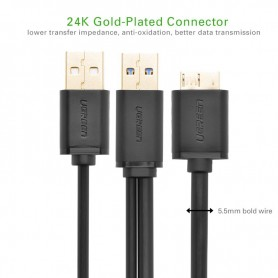 UGREEN, USB 3.0 A Male to Micro B Male Cable + charging, USB 3.0 cables, UG060-CB, EtronixCenter.com
