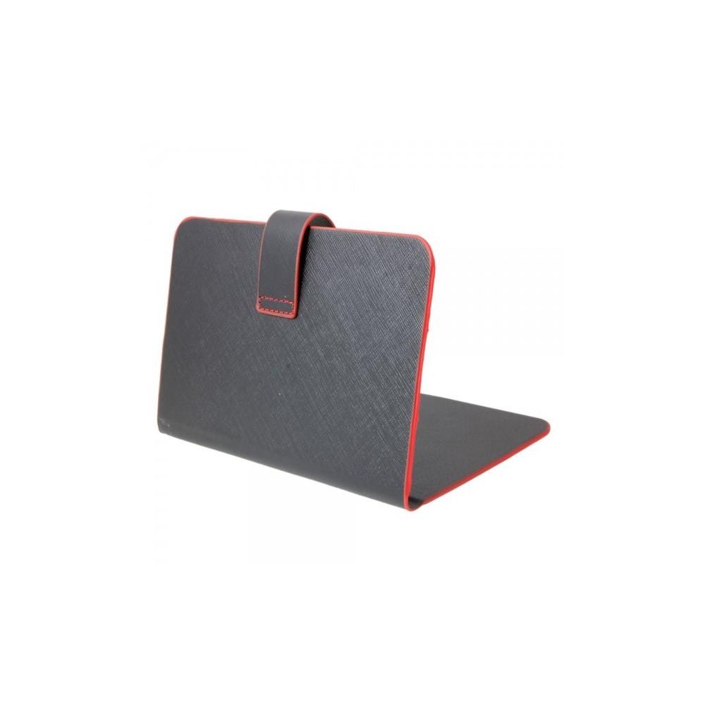 """7"""" tablet leder beschermhoes book style zwart en rood TM339"""
