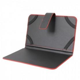 """NedRo - 7\\"""" tablet leder beschermhoes book style zwart en rood TM339 - iPad en Tablets beschermhoezen - TM339 www.NedRo.nl"""