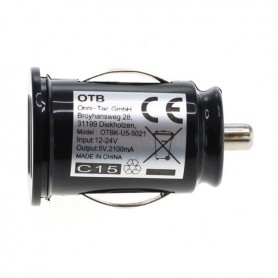 OTB, Dual USB car charger adapter 2,1A TINY Black, Auto charger, ON3122, EtronixCenter.com